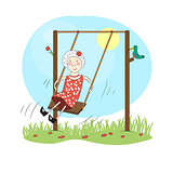 Happy woman on a swing.