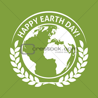 April 22 World Earth Day emblem label