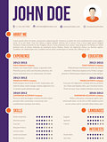 Simplistic yet colorful modern resume cv template