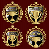 vector set of gold metallic templates for winner of the championship
