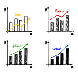 Trendy hand-drawn vector bar graph