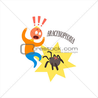 Aracnophobia Vector Illustration