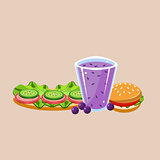 Sandwich Burger And Smoothie