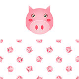 Pig Head Icon And Pattern