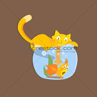 Cat Catshing Fish In Aquarium Image