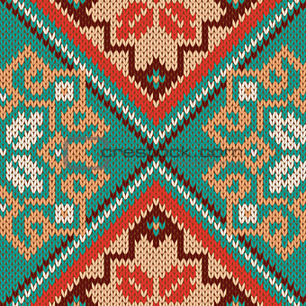 Knitted Seamless Pattern mainly in turquoise and red