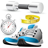 Pair of running shoes, stopwatch and measuring tape