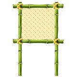 Square bamboo frame with wicker background - signboard