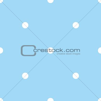 Tile vector pattern with white polka dots on pastel blue background