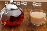 Set glass teapot and cup of tea with milk
