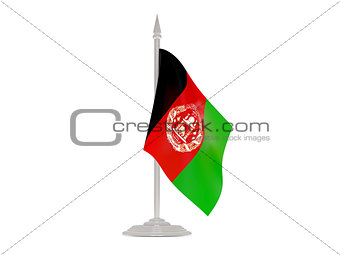 Flag of afghanistan with flagpole. 3d render