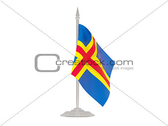 Flag of aland islands with flagpole. 3d render
