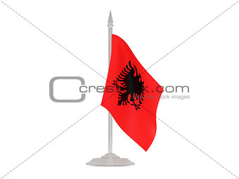 Flag of albania with flagpole. 3d render