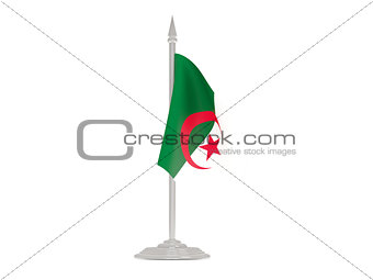 Flag of algeria with flagpole. 3d render