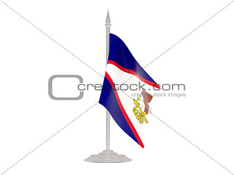 Flag of american samoa with flagpole. 3d render