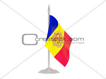 Flag of andorra with flagpole. 3d render
