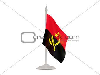 Flag of angola with flagpole. 3d render