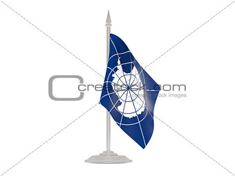 Flag of antarctica with flagpole. 3d render
