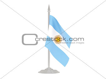 Flag of argentina with flagpole. 3d render