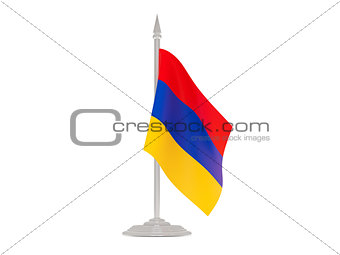 Flag of armenia with flagpole. 3d render