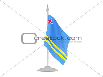 Flag of aruba with flagpole. 3d render