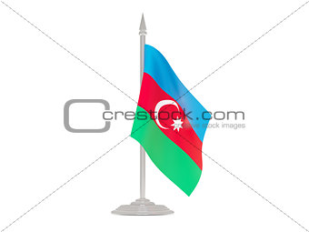 Flag of azerbaijan with flagpole. 3d render