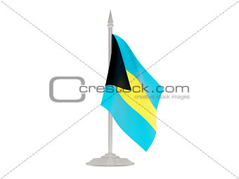 Flag of bahamas with flagpole. 3d render