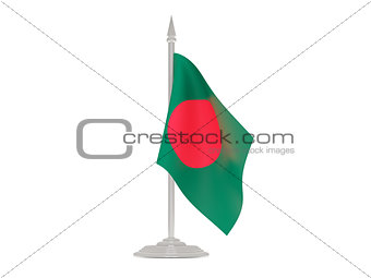 Flag of bangladesh with flagpole. 3d render