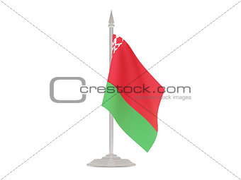 Flag of belarus with flagpole. 3d render