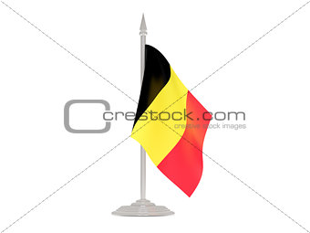 Flag of belgium with flagpole. 3d render