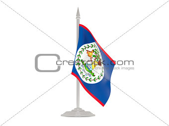 Flag of belize with flagpole. 3d render