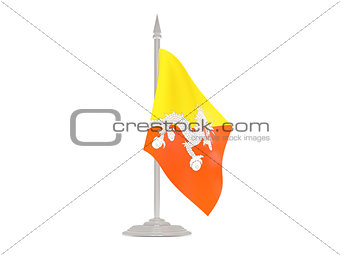 Flag of bhutan with flagpole. 3d render
