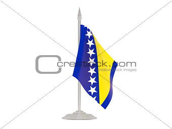 Flag of bosnia and herzegovina with flagpole. 3d render
