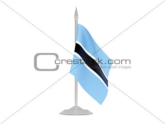 Flag of botswana with flagpole. 3d render