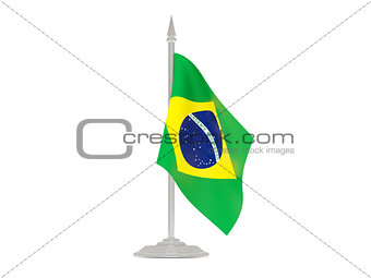 Flag of brazil with flagpole. 3d render