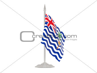 Flag of british indian ocean territory with flagpole. 3d render