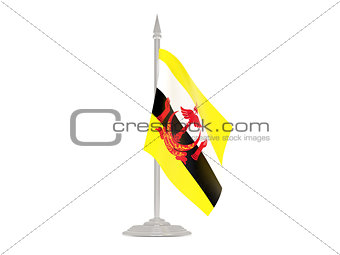 Flag of brunei with flagpole. 3d render