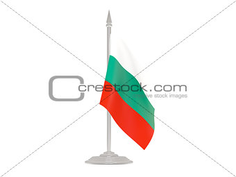 Flag of bulgaria with flagpole. 3d render