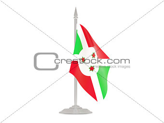 Flag of burundi with flagpole. 3d render