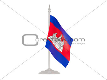 Flag of cambodia with flagpole. 3d render