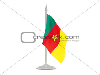 Flag of cameroon with flagpole. 3d render