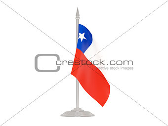 Flag of chile with flagpole. 3d render