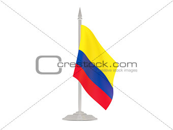 Flag of colombia with flagpole. 3d render