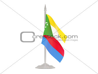 Flag of comoros with flagpole. 3d render
