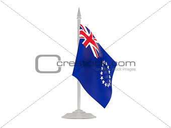 Flag of cook islands with flagpole. 3d render