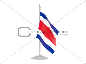 Flag of costa rica with flagpole. 3d render