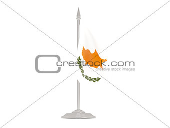 Flag of cyprus with flagpole. 3d render