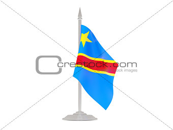 Flag of democratic republic of the congo with flagpole. 3d rende