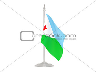 Flag of djibouti with flagpole. 3d render