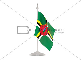 Flag of dominica with flagpole. 3d render